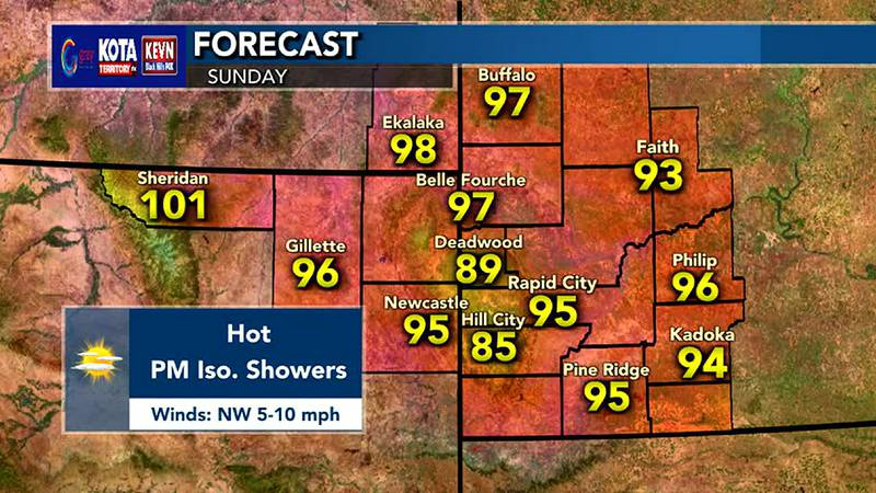 Hot temperatures expected, especially in Sheridan