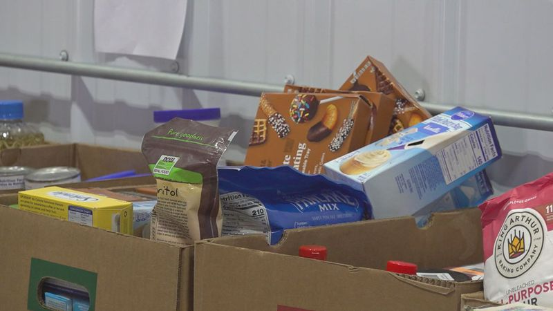 Boxes of food and drinks at Feeding South Dakota in Rapid City.