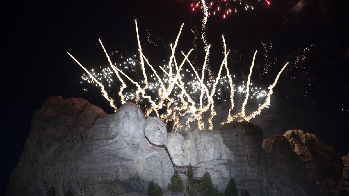 Fireworks light the sky at Mount Rushmore National Memorial, Friday, July 3, 2020, near Keystone, S.D., after President Donald Trump spoke. (AP Photo/Alex Brandon)