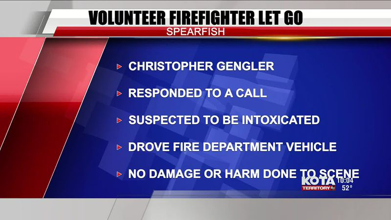 Spearfish volunteer firefighter let go due to suspected intoxication while responding to a call
