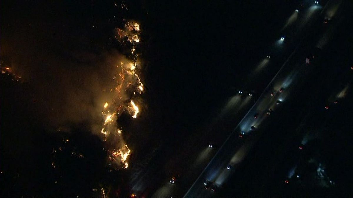 Aerials over the Saddleridge fire in the northern San Fernando Valley, Calif. (Source: KTLA via CNN)
