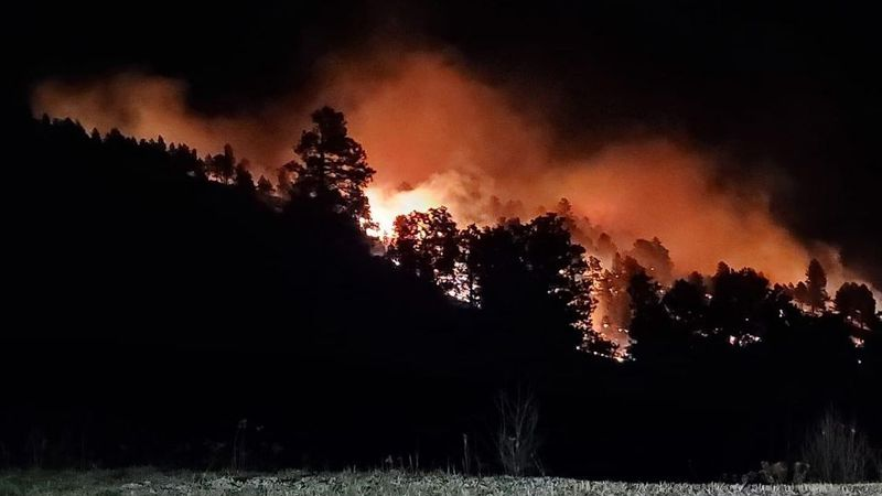 Ten acre fire burning near Deadwood and Strawberry Hill.