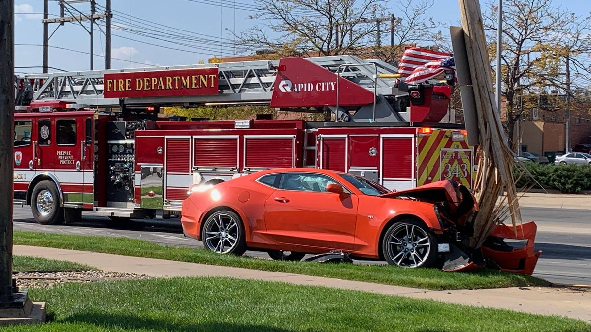 A Camaro crashed with an electrical pole at Fifth Street and St. Joseph Street Monday.
