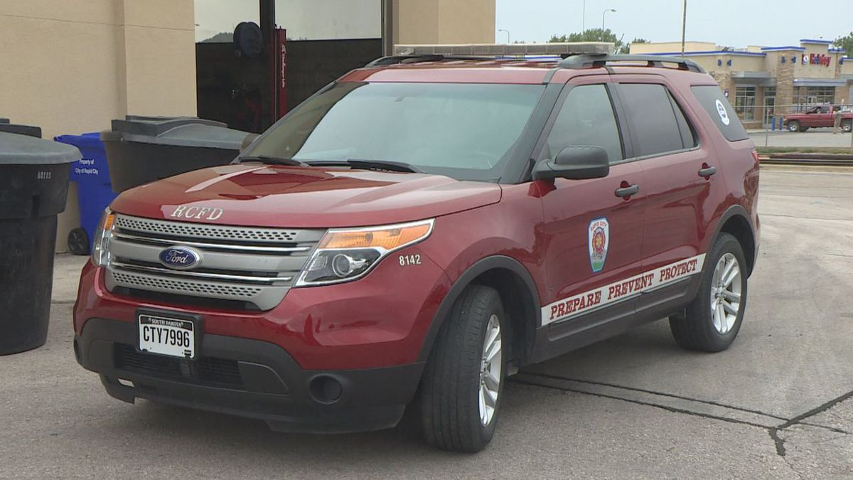 A mobile medic car parked outside the Rapid City Fire Station.
