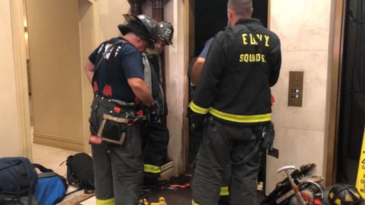 A man was crushed after an elevator car dropped unexpectedly in New York. (Source: WPIX/Tribune/CNN)