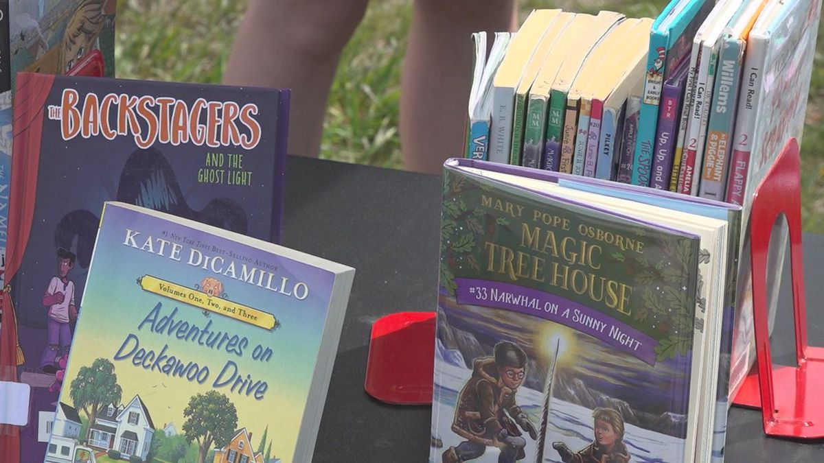 Books at the pop-up library.