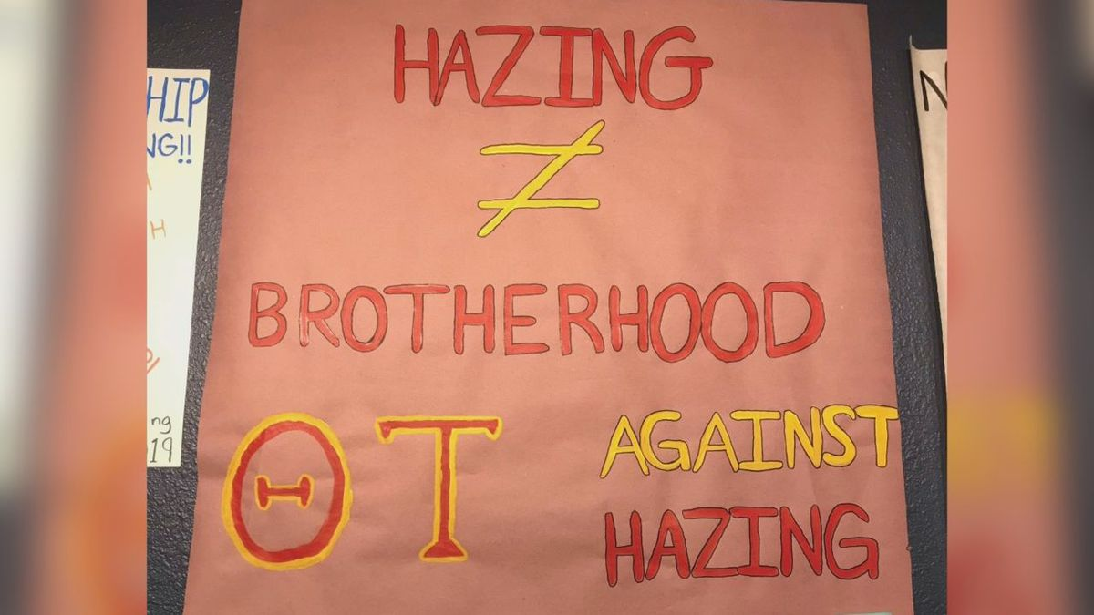 Fraternities, sororities, and other organizations at South Dakota School of Mines & Technology made posters to push an anti-hazing message. (Samantha Harkin)