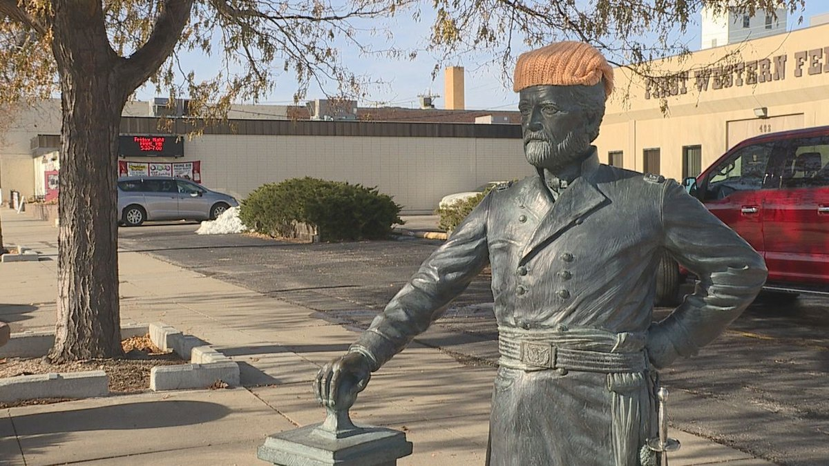 Decorated presidential statue in downtown Rapid City.