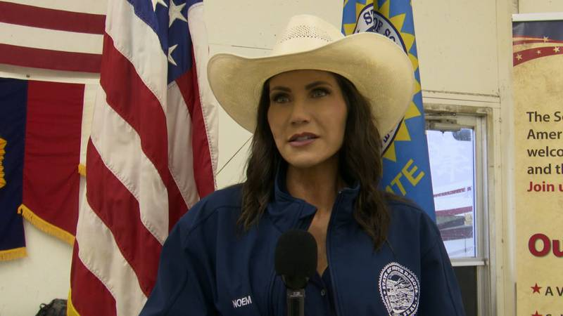 South Dakota Governor Kristi Noem visits the 2021 South Dakota State Fair in Huron.