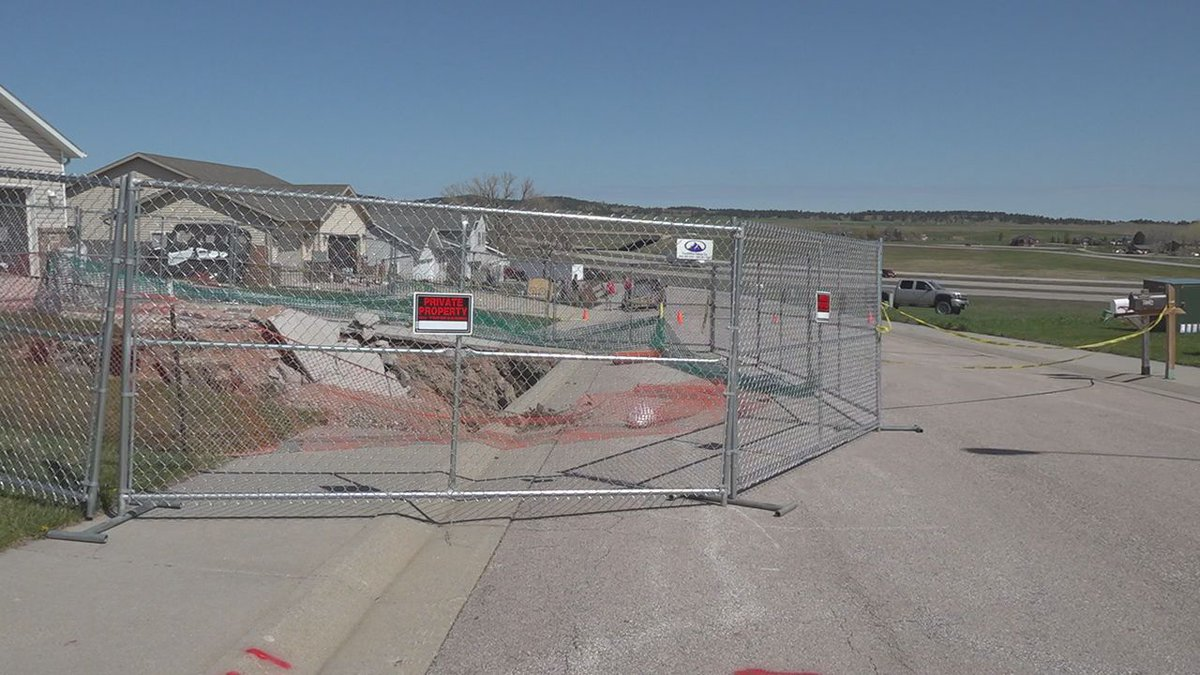 Barriers are around the sinkhole in Black Hawk. (KOTA)