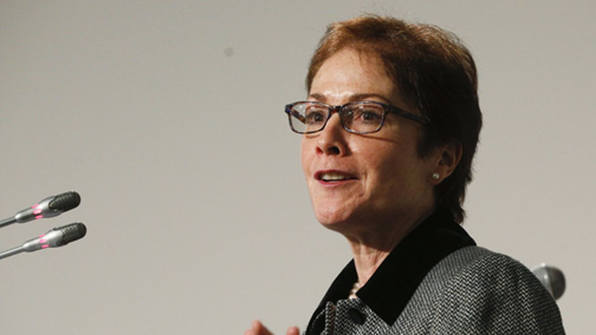 In this Nov. 30, 2018 file photo, then-U.S. Ambassador to Ukraine, Marie L. Yovanovitch, speaks in Kyiv, Ukraine. Yovanovitch was removed from her post after insisting that a request to Ukrainian officials to investigate President Donald Trump's political rival be conveyed through official channels, according to a fellow former diplomat. (AP Photo/Efrem Lukatsky)