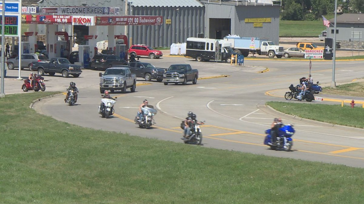 Bikers riding along in Sturgis at the 79th Annual Sturgis Motorcycle Rally. (KOTA TV)
