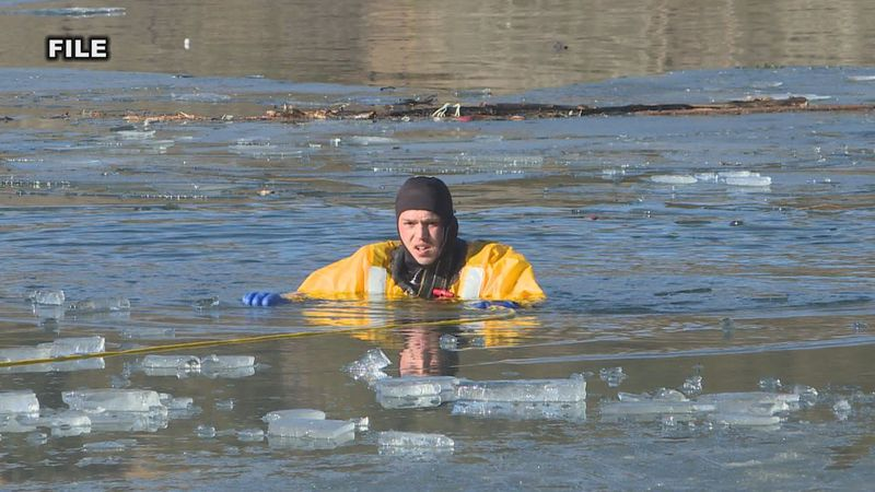 The Rapid City Fire Department practices rescuing people that have fallen through the ice.