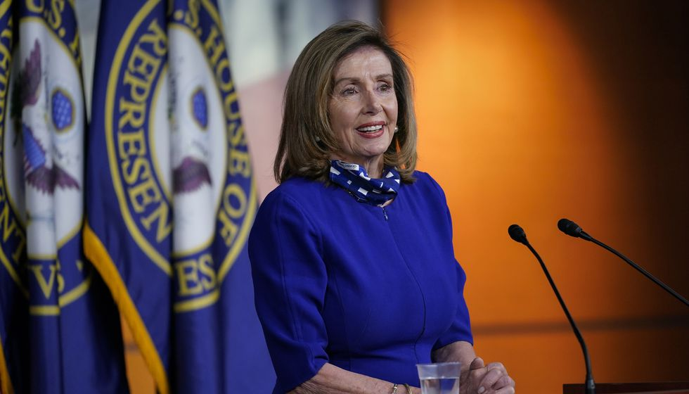 Speaker of the House Nancy Pelosi, D-Calif., speaks during a news conference at the Capitol in...
