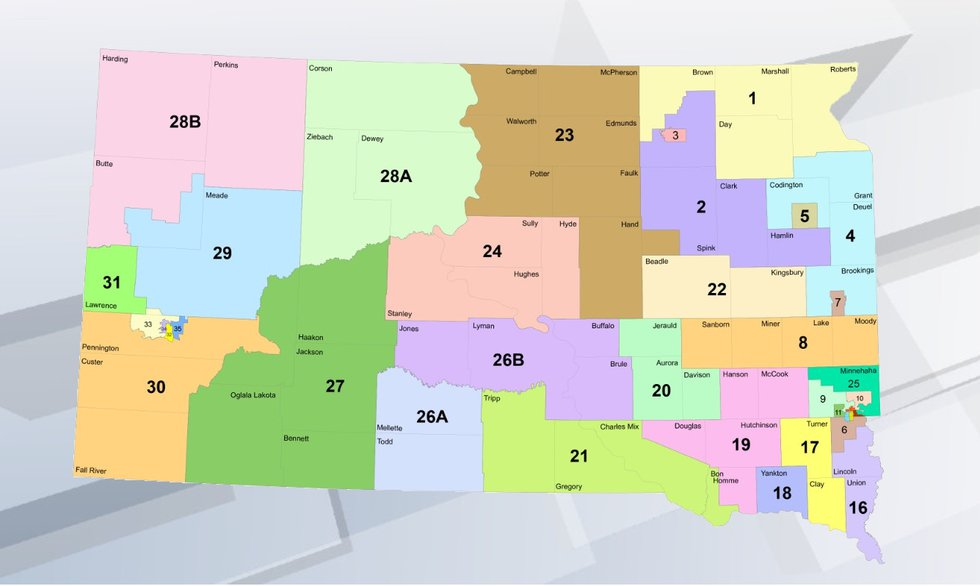 Current South Dakota legislative district map. Many districts will be redrawn to account for...