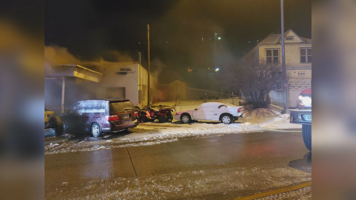A structure fire at Lead business left multiple vehicles destroyed on Wednesday night.