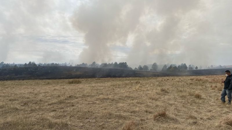 """The """"Puzzle Fire"""" near Rosebud in south central South Dakota."""