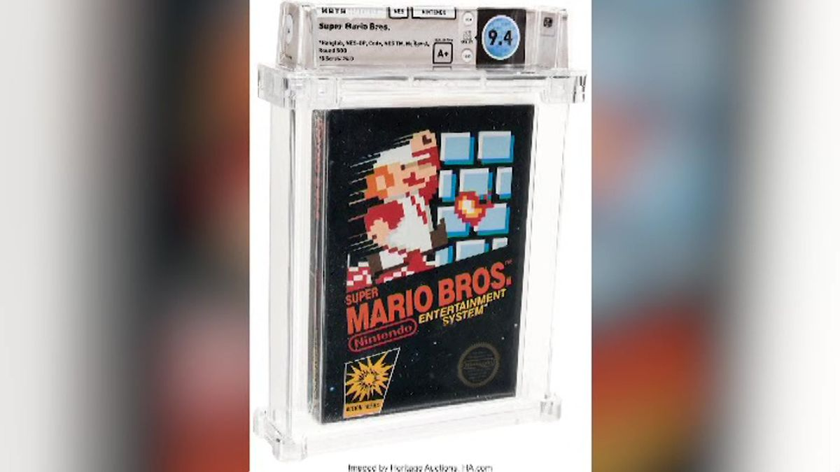 An unopened copy of a vintage Super Mario Bros. video game has been sold for $114,000 in an...