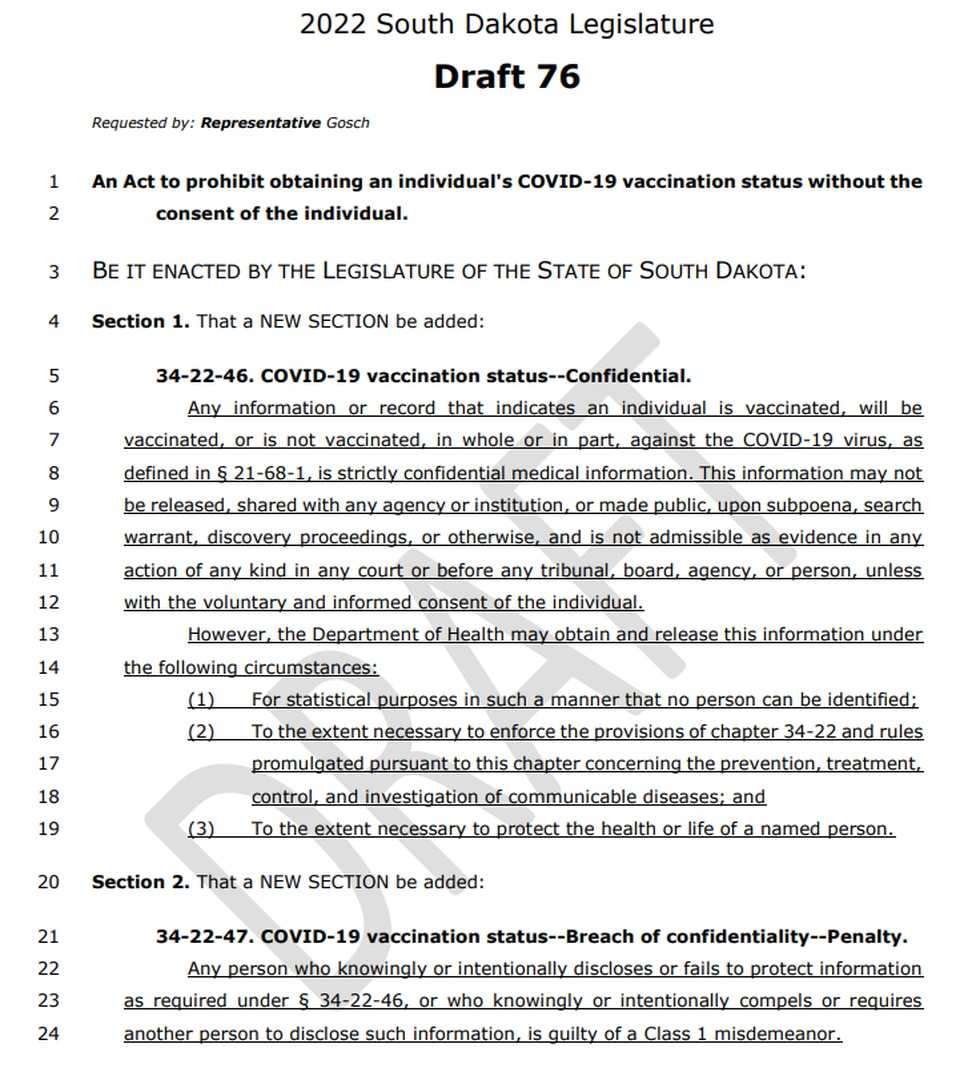 Speaker Spencer Gosch (R-Glenham) is the latest South Dakota state legislator to bring forth a...