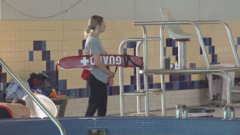 A lifeguard on duty at the aquatics center.