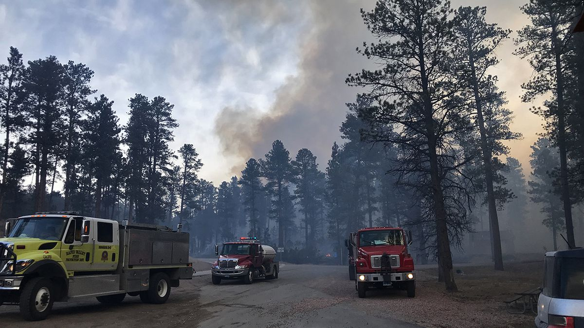 The Legion Lake Fire is burning in Custer State Park near the Legion Lake Lodge.