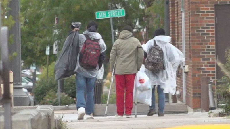 Early snowfall sends homeless looking for warm clothes.