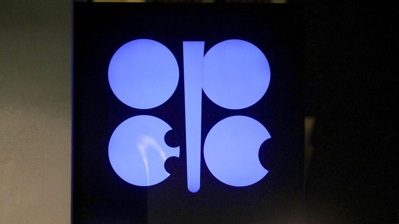In this Dec. 19, 2019 file photo, the advertising label of the Organization of the Petroleum...