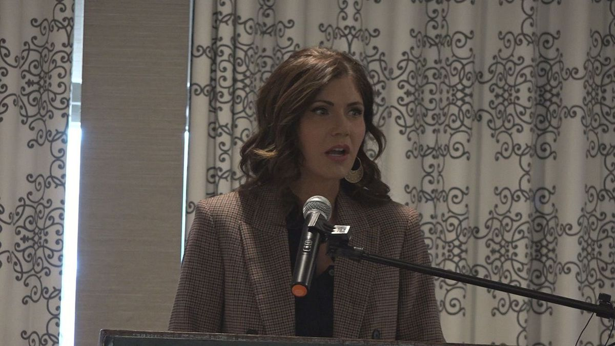 Governor Kristi Noem elaborating on her proposed 2021 budget proposal in Rapid City on Wednesday. (KOTA TV)