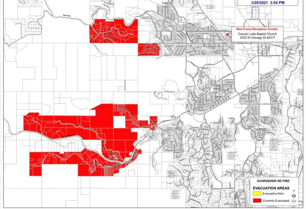 Map of evacuation areas from Schroeder Road fire