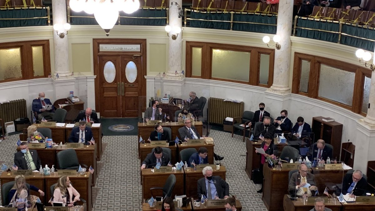 Sen. Maggie Sutton (R-Sioux Falls) presents HB1217 on the Senate floor Monday afternoon.