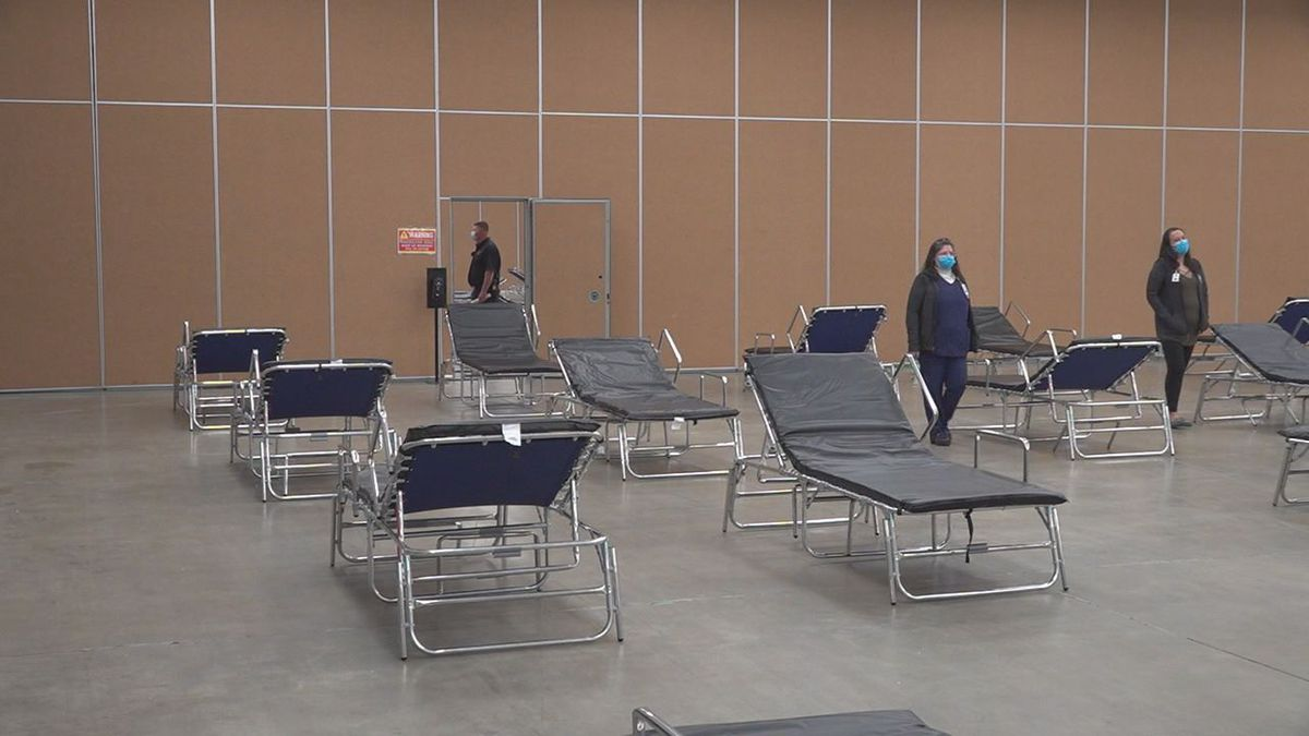 The emergency Coronavirus shelter at the Rushmore Plaza Civic Center in Rapid City, S.D.