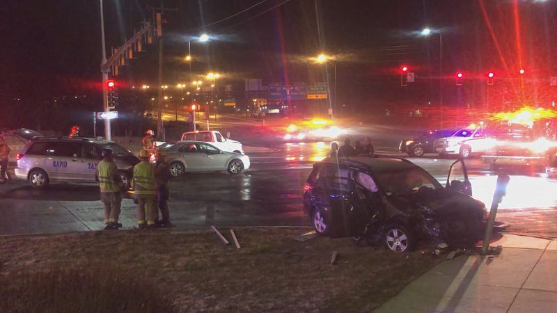 A Rapid City intersection was shut down overnight after a multi-vehicle accident.