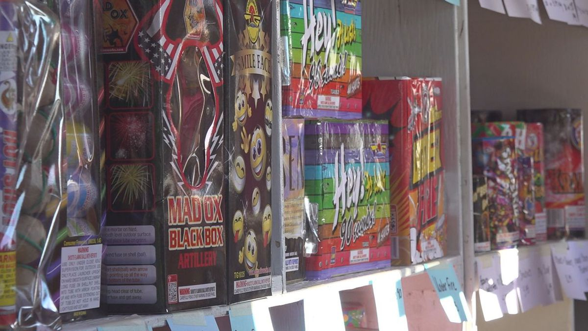 Fireworks being set up in Sturgis.