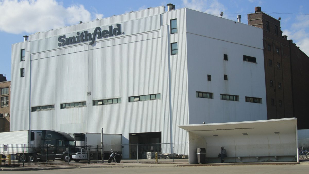 The Smithfield pork processing plant in Sioux Falls, S.D., is seen Wednesday, April 8, 2020,...