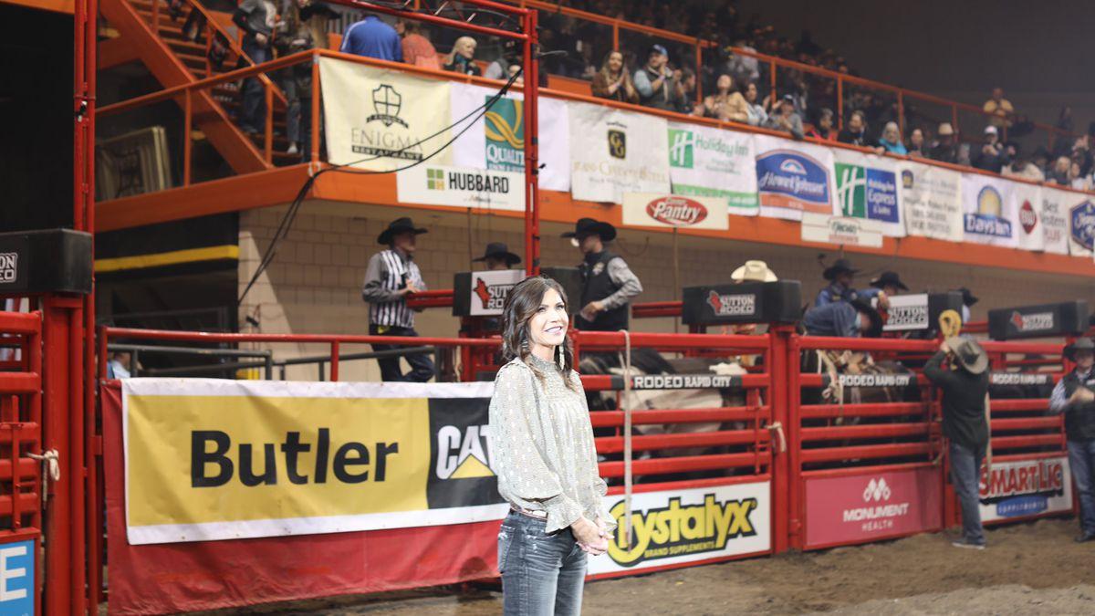 Gov. Kristi Noem enjoys the Black Hills Stock Show and Rodeo on Jan. 31.