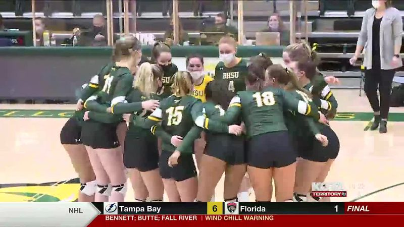 The Black Hills State Yellow Jackets volleyball team split their two game series with the...