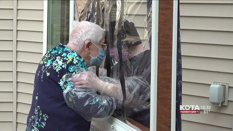 Edgewood Assisted Living created a hugging window for a safe way to hug your loved ones in the...
