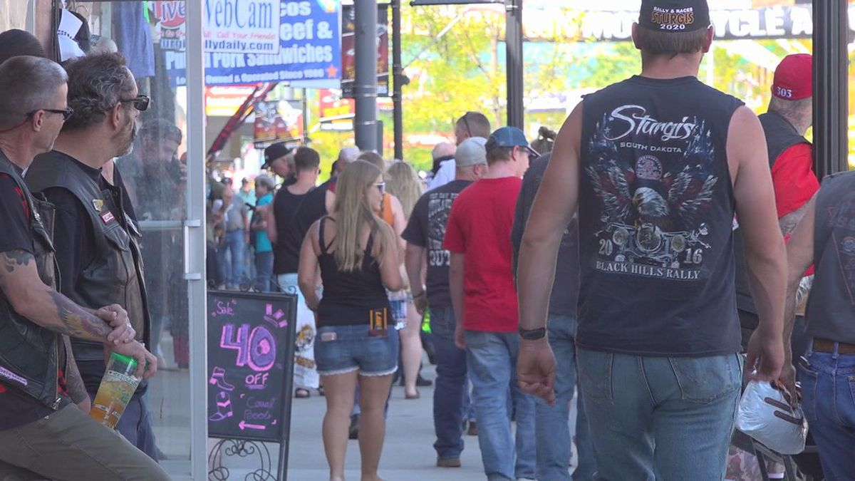 Crowds on Main Street at the 80th Sturgis Motorcycle Rally.