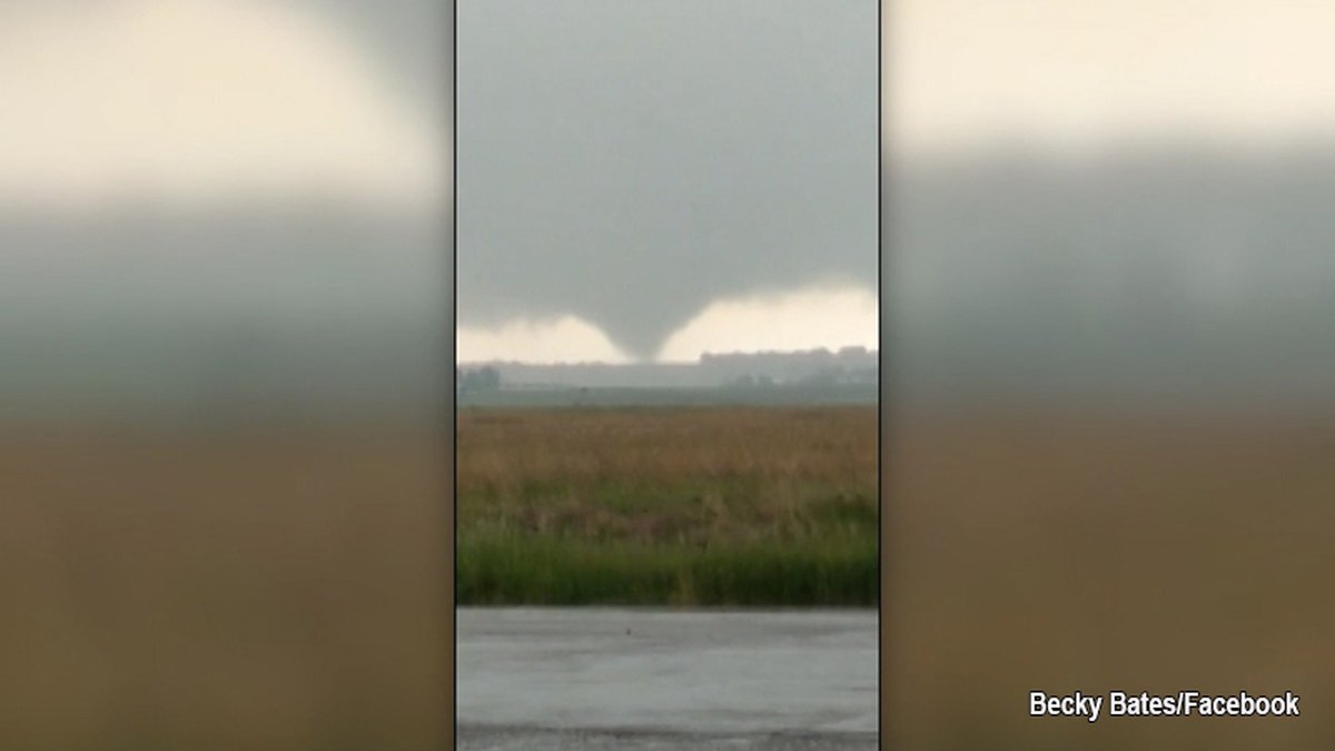 A rare, clockwise tornado touched down near Estelline, S.D., June 15. (Becky Bates/Facebook)