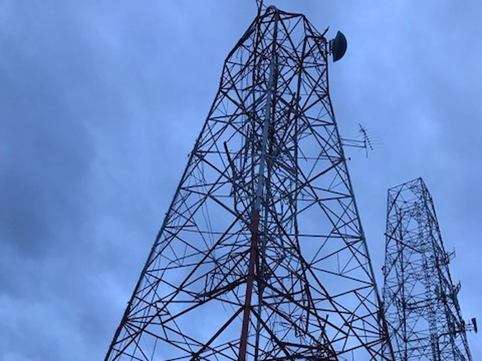 The KPLC-TV studios were damaged when a broadcast tower was toppled during Hurricane Laura Thursday, Aug. 27, 2020.