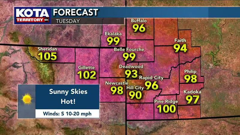 Triple digits expected in Northeast Wyoming