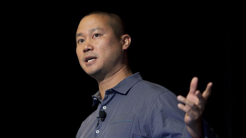 In this Sept. 30, 2013, file photo, Tony Hsieh speaks during a Grand Rapids Economic Club...