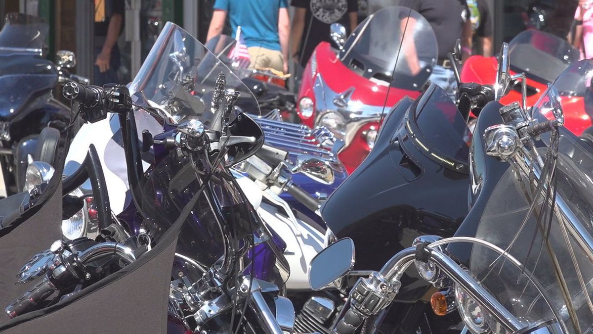 A group of motorcycles lined up at the rally in Sturgis.