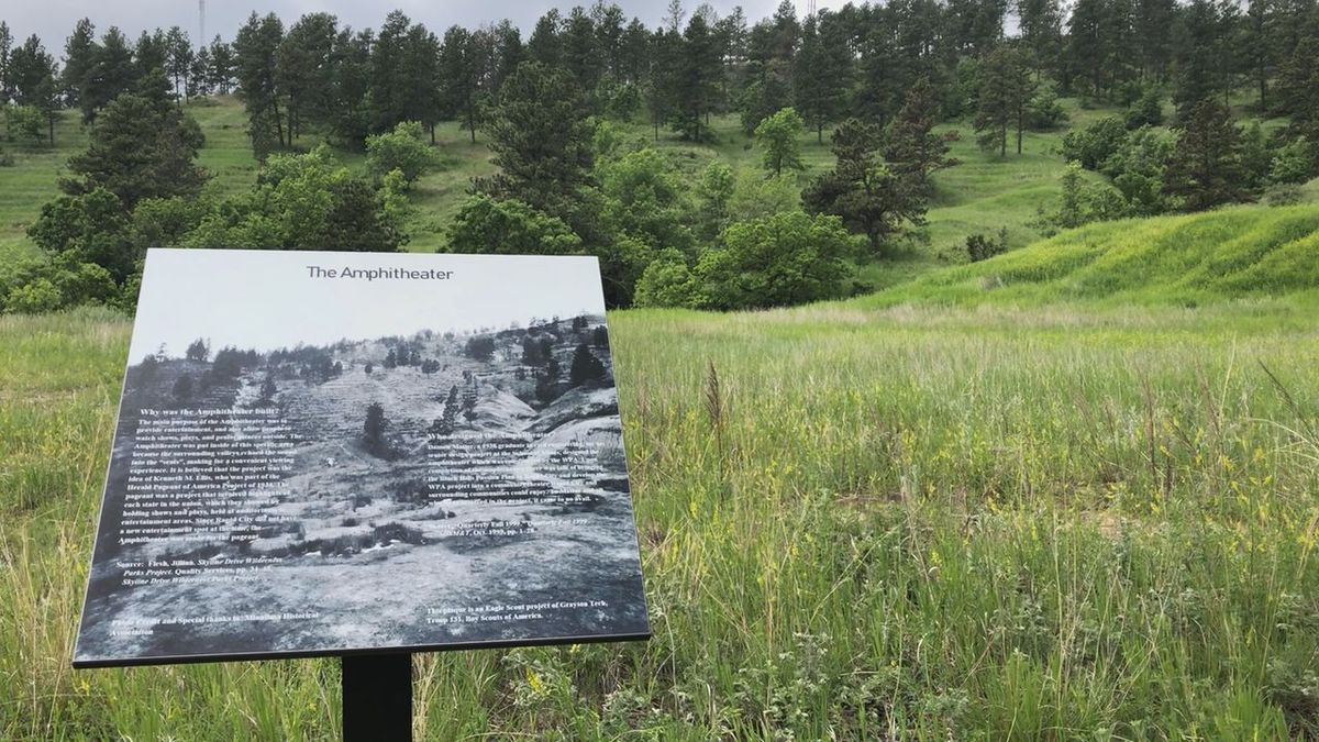 A new plaque in Skyline Wilderness Park explains the history of what remains of the...