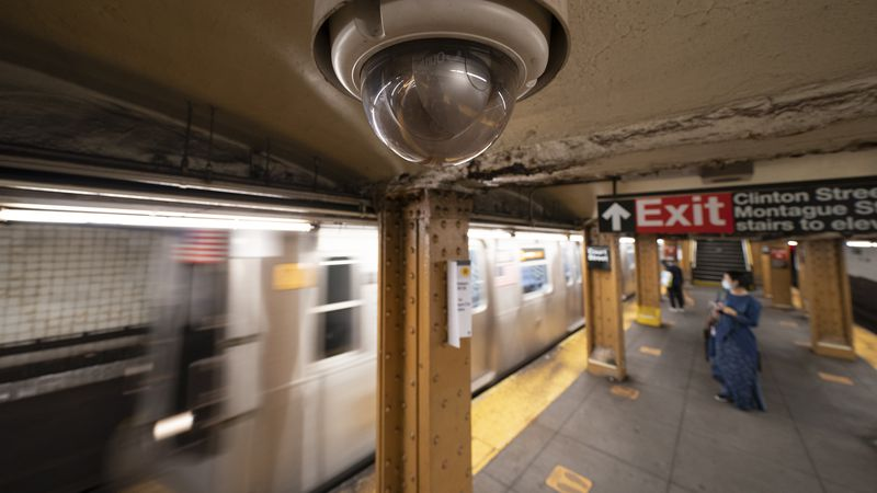 FILE - In this Oct. 7, 2020, file photo, a video surveillance camera is installed on the...