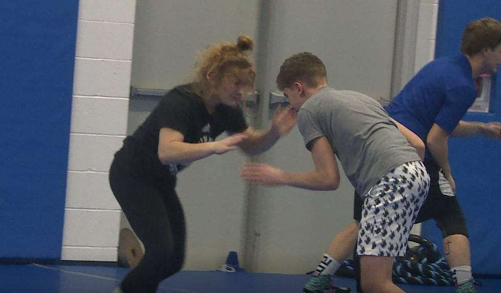 Paige Denke moved from Chadron to wrestle for Stevens.