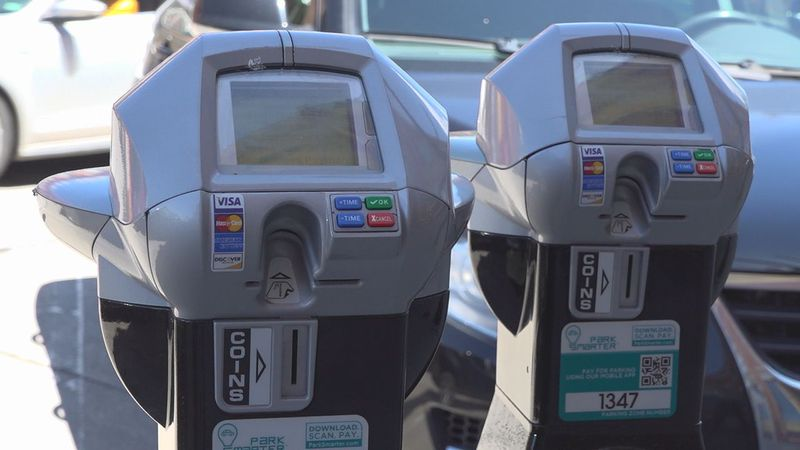 Parking meters in Downtown Rapid City, S.D.
