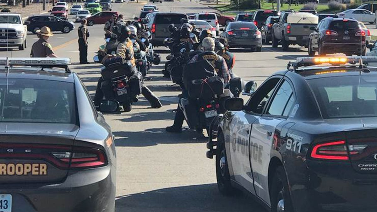 Police stopped a group of Bandidos Motorcycle Club members in Rapid City Thursday; arresting one person and seizing several firearms. (photo courtesy Rapid City Police Department)
