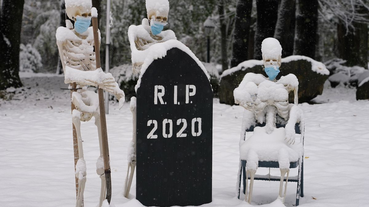 Snow falls on masked skeletons ready to bury the year 2020, Friday, Oct. 30, 2020, on a lawn in...