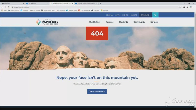 "The page shows Mount Rushmore and the message, ""Nope, your face isn't on this mountain yet...."